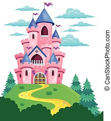 Pink castle theme image 2 - eps10 vector illustration.