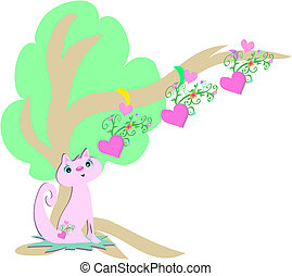 Pink Cat and Hearts Tree