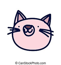 pink cat face cartoon on white background