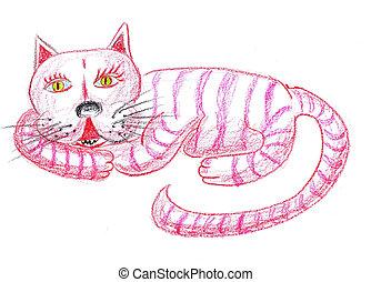 pink cat illustration