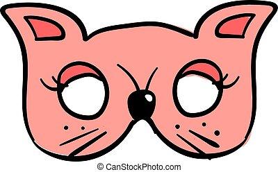 Pink cat mask, illustration, vector on white background.