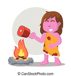 pink cave woman cooking meat on fire