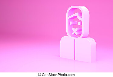 Pink Censor and freedom of speech concept icon isolated on pink background. Media prisoner and human rights concept. Tied mouth. Minimalism concept. 3d illustration 3D render