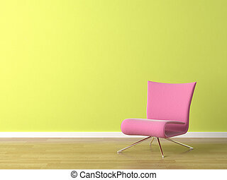 pink chair on green wall - interior scene of pink modern ...