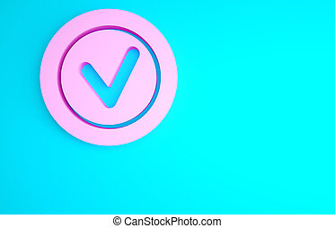 Pink Check mark in round icon isolated on blue background. Check list button sign. Minimalism concept. 3d illustration 3D render