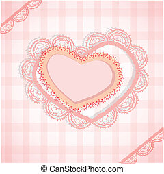 Pink checked background with two hearts