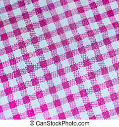 Pink checked fabric tablecloth