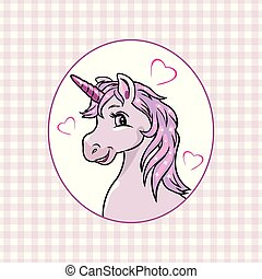 Pink checkered background with a happy unicorn in frame