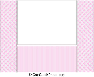 Pink checkered celebration frame for your message or...
