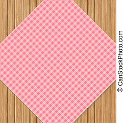 Pink Checkered Tablecloth on Brown Oak Wooden Table