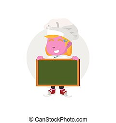 pink chef girl holding blank board