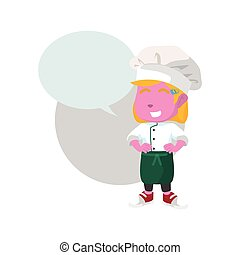 pink chef girl with callout