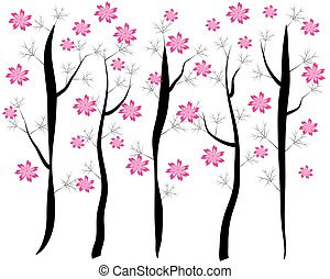 Pink Cherry Blossom - vector