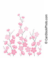 Illustration of pink cherry blossoms isolated on white background