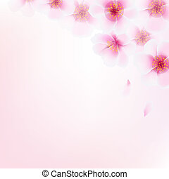 Pink Cherry Flower Border With Bokeh, With Gradient Mesh,...