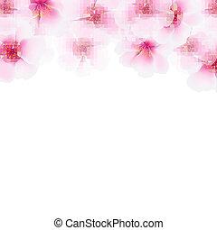 Pink Cherry Flower Border, With Gradient Mesh, Vector...