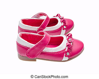 Pink child shoes isolated