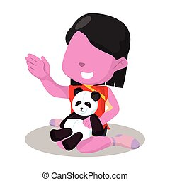 pink chinesse girl playing with her panda doll