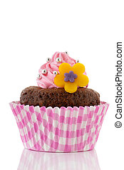 Pink chocolate cupcake with flower
