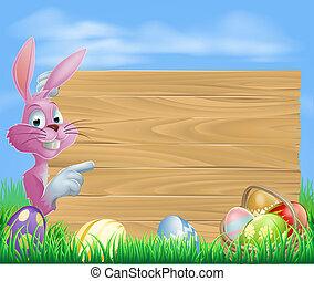 Pink chocolate eggs sign Easter bun