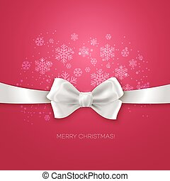 Pink Christmas background ribbon with white silk bow Vector...