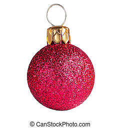 Pink Christmas ball isolated on white background. Close up. Traditional Xmas symbol.