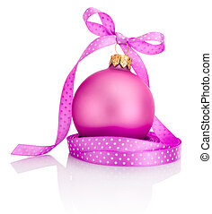 Pink Christmas ball with ribbon bow Isolated on white...