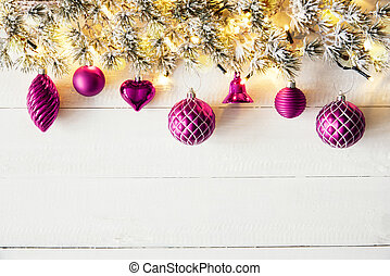 Pink Christmas Banner, White Wood, Copy Space