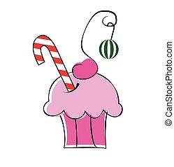 Pink Christmas Cupcake