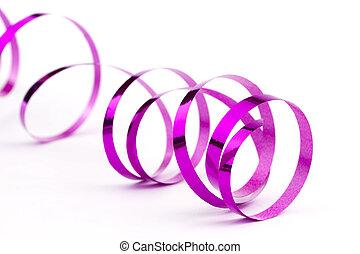 Pink christmas foil ribbon on white