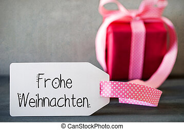 Pink Christmas Gift, Calligraphy Frohe Weihnachten Means Merry Christmas