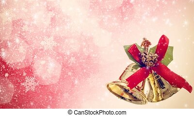 pink christmas seamless loop background with bells and...