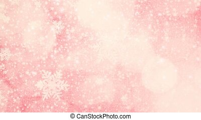 pink christmas seamless loop background with snowflakes