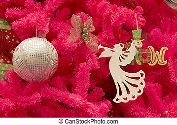 Christmas tree with ornaments.