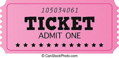 Pink cinema retro admit one ticket isolated on white