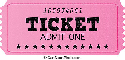 Pink cinema retro admit one ticket isolated on white