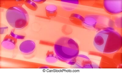 Pink circles in an orange stream