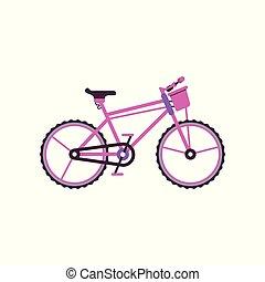 Pink city bike, modern bicycle vector Illustration