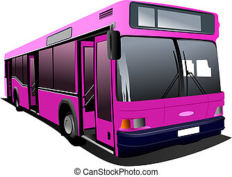 Pink city bus. Coach. Vector illus