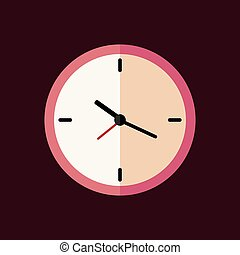 Pink clock flat icon. Vector illustration.