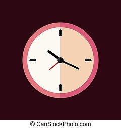Pink clock flat icon. Vector illustration.