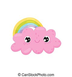 Pink cloud and rainbow on white background.
