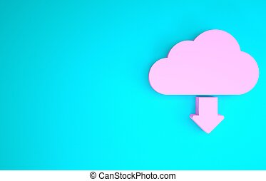 Pink Cloud download icon isolated on blue background. Minimalism concept. 3d illustration 3D render