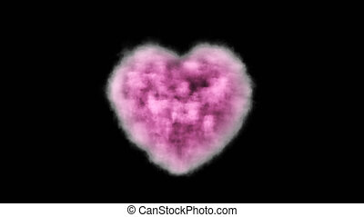 Pink cloud in the shape of a heart with alpha channel