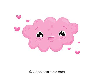 Pink cloud on white background. Spring concept.