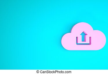 Pink Cloud upload icon isolated on blue background. Minimalism concept. 3d illustration 3D render