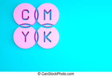 Pink CMYK color mixing icon isolated on blue background. Minimalism concept. 3d illustration 3D render