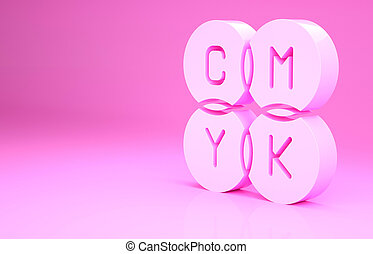 Pink CMYK color mixing icon isolated on pink background. Minimalism concept. 3d illustration 3D render