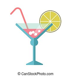 Pink cocktail in martini glass with straw and lime