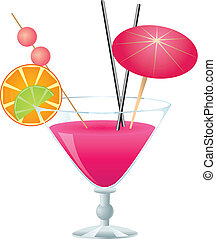 Pink cocktail - Tropical pink cocktail with small umbrella...